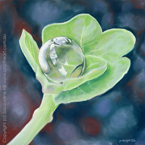 """Dewdrop I: Love, Life & the World in a Tiny Dewdrop"" by Jacqueline Hill, Limited Edition Fine Art Reproduction"