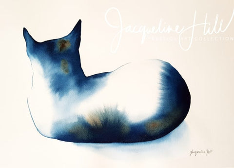 "DA363 ""Cat LXV"" (Aloofness) Original Watercolour Painting by Jacqueline Hill"