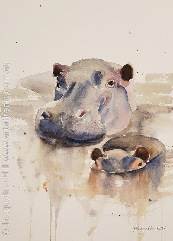 "DA131 ""Hippos"" Original Watercolour Painting by Jacqueline Hill"