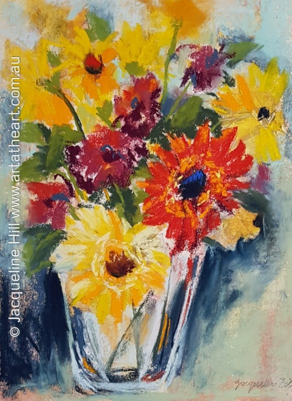 "DA210 ""Happiness is a Bunch of Gerberas II"" Original Dark Field Monotype in Mixed Media (oil and pastel) Painting apx 29x42cm by Jacqueline Hill"