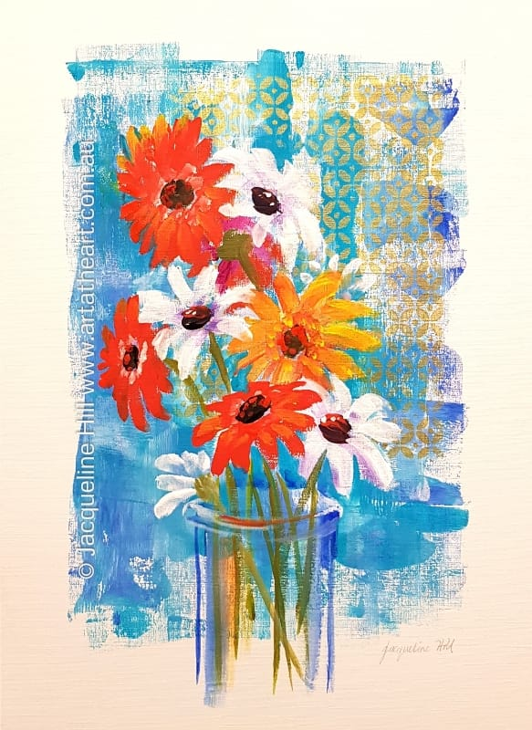 "DA226 ""Daisies and Gerberas"" Original Framed Acrylic Painting by Jacqueline Hill"