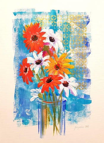 "DA226 ""Daisies and Gerberas"" Acrylic Painting apx 30x43cm  by Jacqueline Hill"