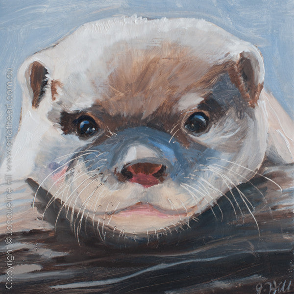 "DPE005 ""Baby Otter IIIo"" Original Oil on Panel Painting by Jacqueline Hill"