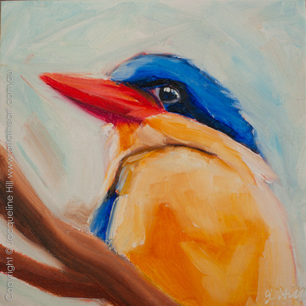 "DP211 ""Kingfisher II"" Original Oil on Panel Painting by Jacqueline Hill"