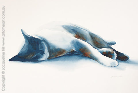 """Cat LIV (Gravity Wins IVw)"" Original Watercolour Painting by Jacqueline Hill [OR240]"
