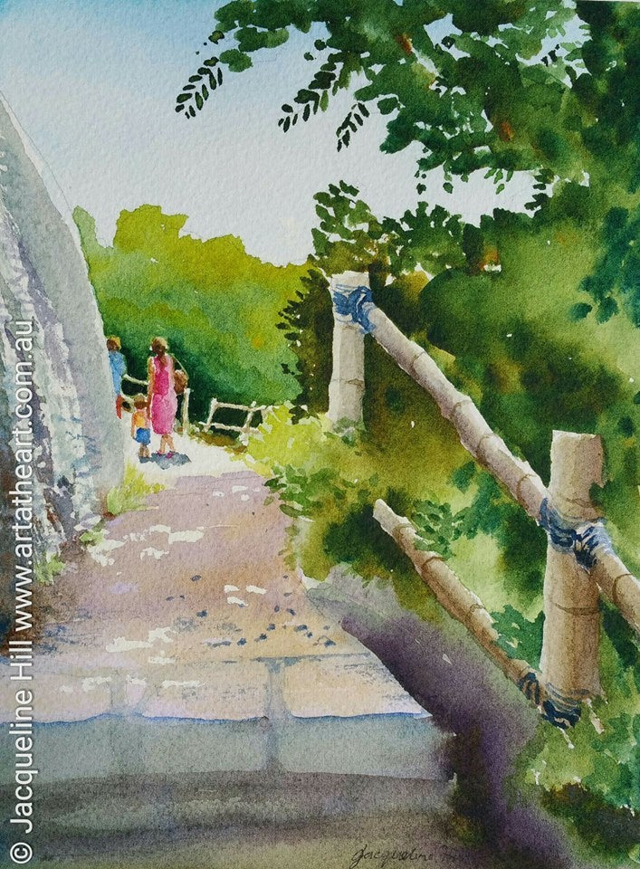 "DA094 ""Bali Cliffwalk"" Original Watercolour Painting apx 6x8"" / 15x20cm by Jacqueline Hill"