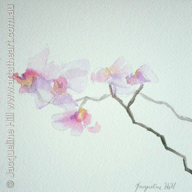 "DA082 ""Bali Orchids"" Original Watercolour Painting by Jacqueline Hill"