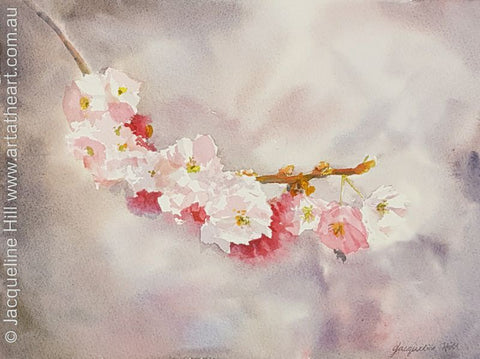 "DA124 ""Cherry Blossoms"" Original Watercolour Painting by Jacqueline Hill"