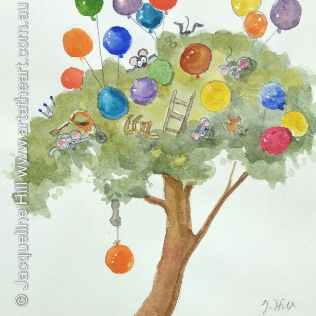 "DA035 ""The Balloon Tree"" Original Watercolour Painting by Jacqueline Hill"