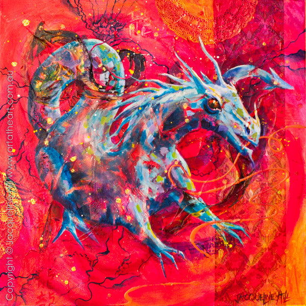 """Dragon IIa"" Original Acrylic & Mixed Media Painting by Jacqueline Hill [OR327]"