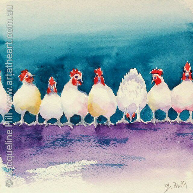"DA060 ""There's Always One"" Original Watercolour Painting apx 6x6"" / 15cm sq by Jacqueline Hill"