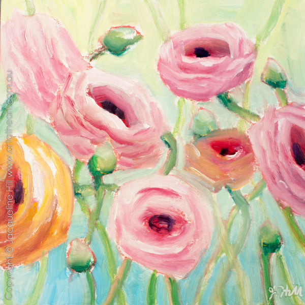 "DP212 ""Ranunculus III"" Original Oil on Panel Painting by Jacqueline Hill"