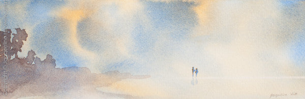 """Sunset Stroll"" Original Watercolour Painting by Jacqueline Hill [OR189]"