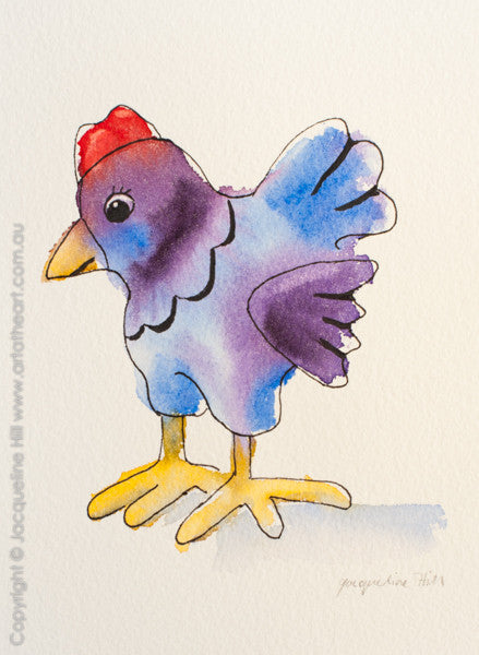 """Chicken Little I"" Original Ink and Watercolour Painting by Jacqueline Hill [OR243]"