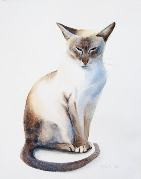 """Cat XXXVIII"" (""Quincy"") Original Watercolour Painting by Jacqueline Hill [OR024]"
