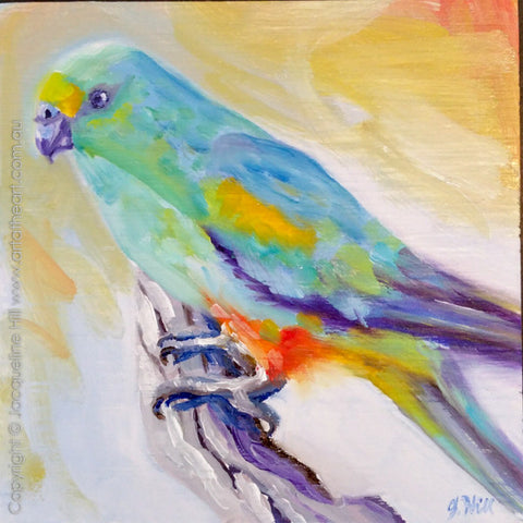 "DP307 ""Mulga Parrot"" Original Oil on Panel Painting by Jacqueline Hill"