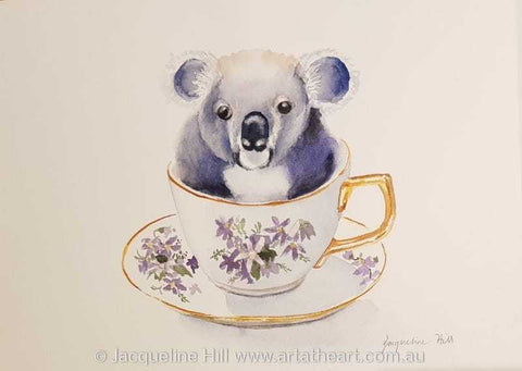 "DA169 ""Tea With Friends VIII"" (Casper the Koala) Original Watercolour Paintingby Jacqueline Hill"