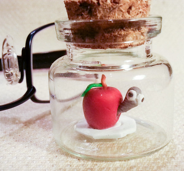 """Teeny Weeny Wormy Apple"" Traptt Miniature Polymer Clay Original Sculpture by Jacqueline Hill"