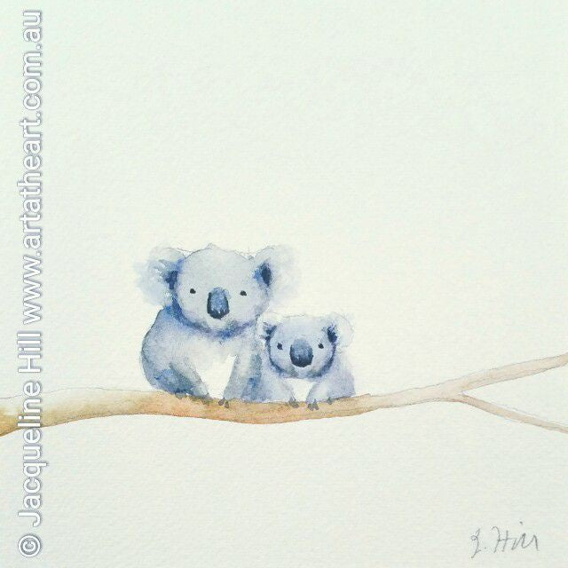 "DA046 ""Mother Love (Koalas)"" Original Watercolour Painting apx 6x6"" / 15cm sq by Jacqueline Hill"
