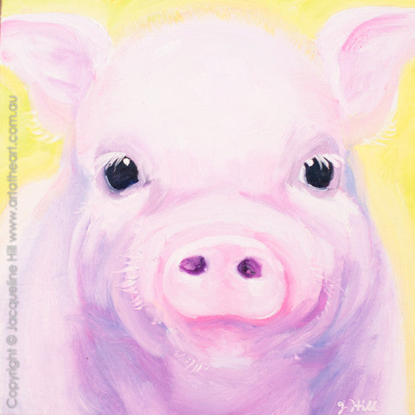 "DP238 ""Piglet"" Original Oil on Panel Painting by Jacqueline Hill"
