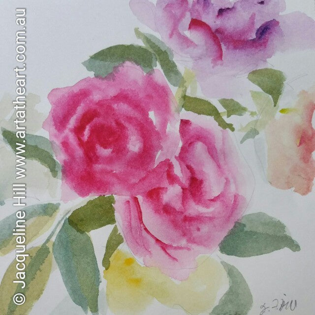 "DA002 ""Roses from my Summer Garden"" Original Watercolour Painting apx 6x6"" / 15cm sq by Jacqueline Hill"