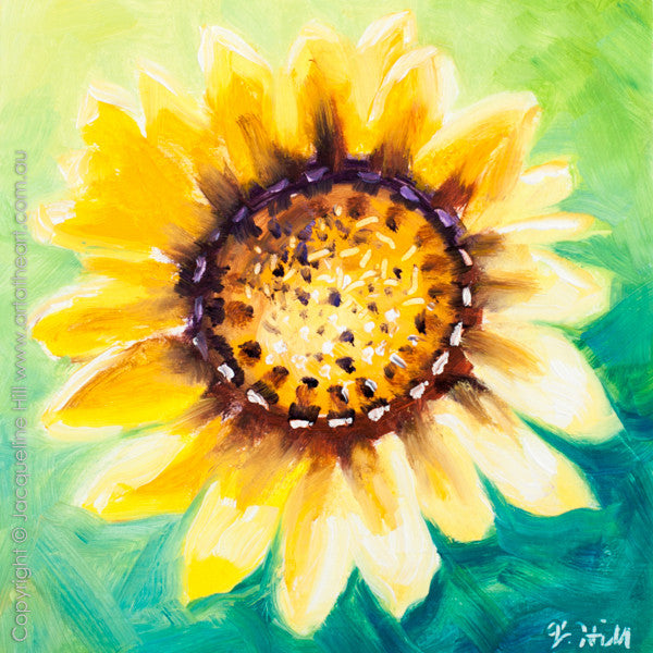 "DP296 ""Happy Face (Sunflower)"" Original Oil on Panel Painting by Jacqueline Hill"