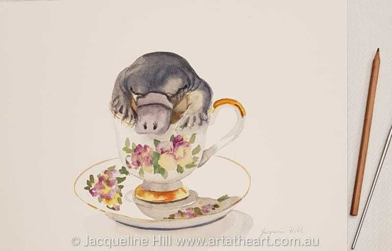 "DA172 ""Tea With Friends XI"" (Platy Puggle Puddle) Original Watercolour Painting apx 36x26cm by Jacqueline Hill"