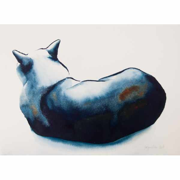 """Cat XXXIX"" Original Watercolour Painting by Jacqueline Hill [OR027]"