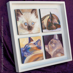 "Framing of 4 Daily Paintings in 16x16x1.5"" Open White Box Frame"
