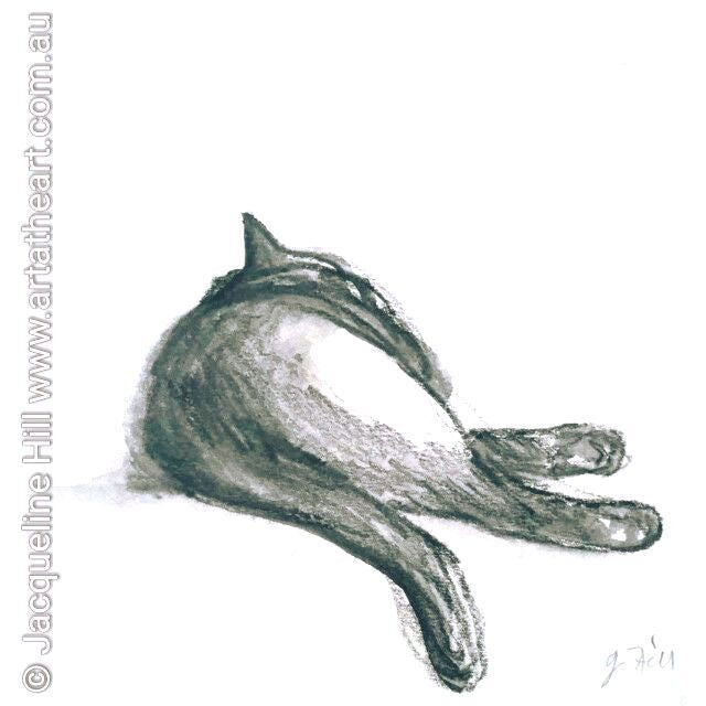 "DA052 ""Flop II (Gravity Yield) - Lounge Puss II"" Original Water Graphite Painting by Jacqueline Hill"