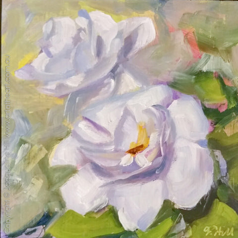 "DP304 ""Fragrance of Spring"" (Gardenias) Original Oil on Panel Painting by Jacqueline Hill"