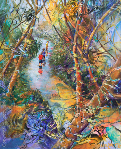 """Eli Creek Wading"" by Jacqueline Hill, Limited Edition Fine Art Reproduction"