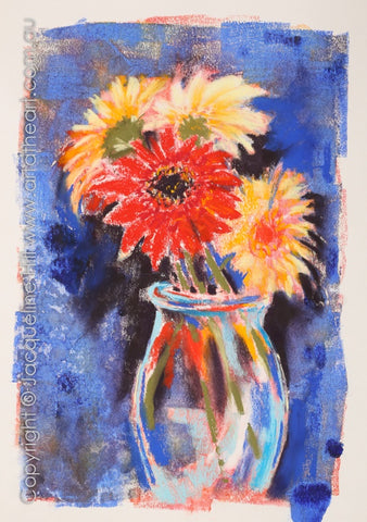 """Appreciation (Gerberas)"" Original Mixed Media Painting 24x36cm by Jacqueline Hill [OR418]"