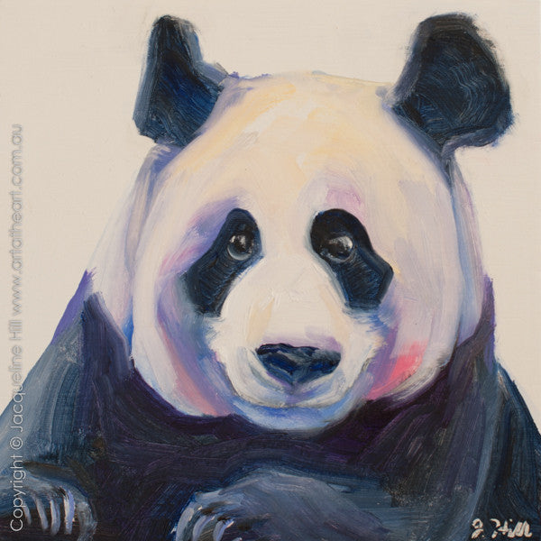 "DP282 ""Panda"" Original Oil on Panel Painting by Jacqueline Hill"