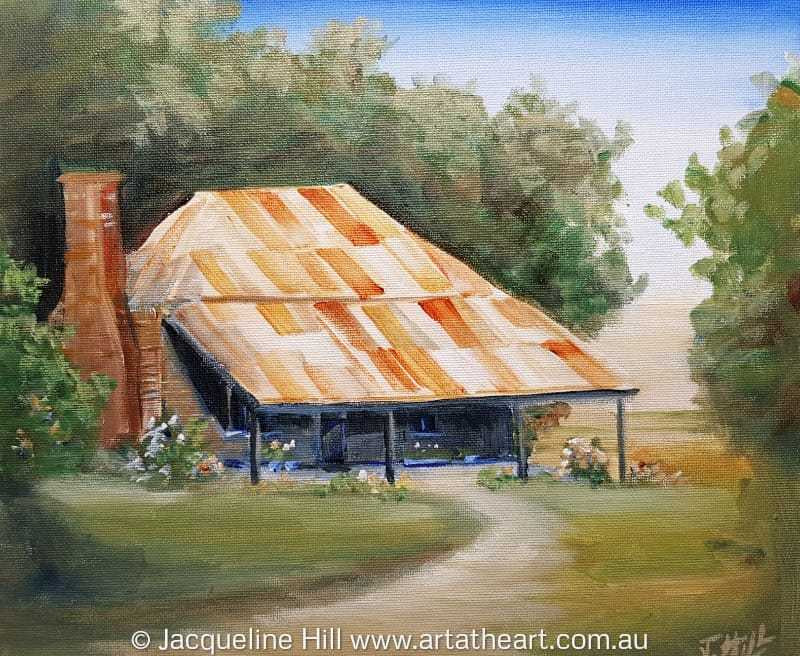 "DA187 ""Beloved Cottage"" (Brickenden, Tasmania) Original Acrylic Painting 30x24cm by Jacqueline Hill"