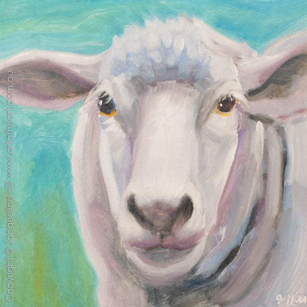 "DP245 ""Baa"" Original Oil on Panel Painting by Jacqueline Hill"
