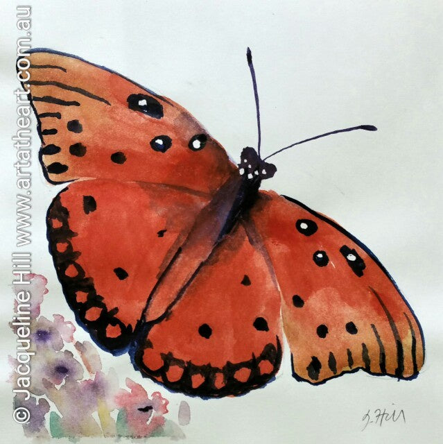 "DA020 ""A Change of Pace (Red Butterfly)"" Original Watercolour Painting apx 6x6"" / 15cm sq by Jacqueline Hill"