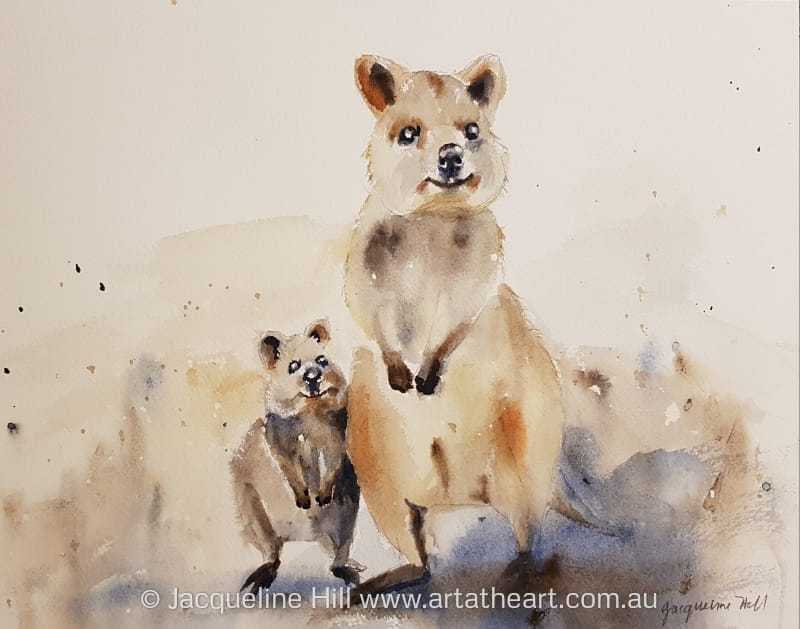 "DA146 ""Quokka Family"" Original Watercolour Painting by Jacqueline Hill"