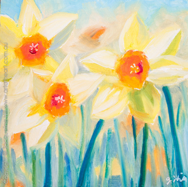 "DP210 ""Daffodils"" Original Oil on Panel Painting by Jacqueline Hill"