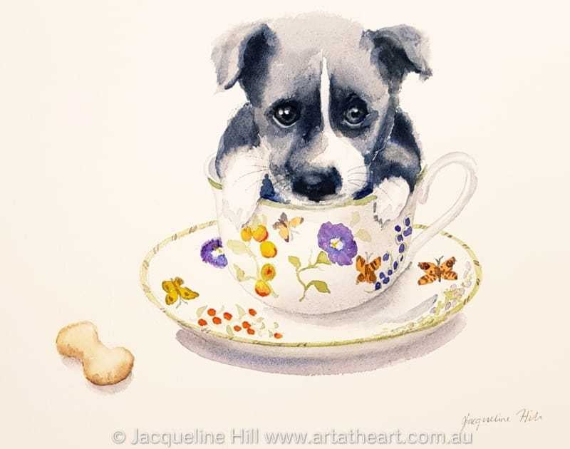 "DA163 ""Tea With Friends II"" (puppy) Original Watercolour Painting apx 36x26cm by Jacqueline Hill"