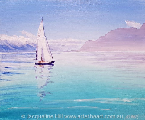 "DA214 ""Calm Waters"" Original Acrylic Painting by Jacqueline Hill"