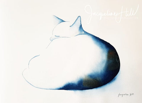 "DA361 ""Cat LXIII"" (The Lump) Original Watercolour Painting by Jacqueline Hill"