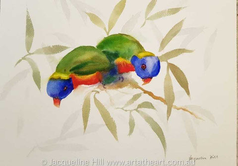 "DA148 ""Rainbow Lorikeets"" Original Watercolour Painting by Jacqueline Hill"