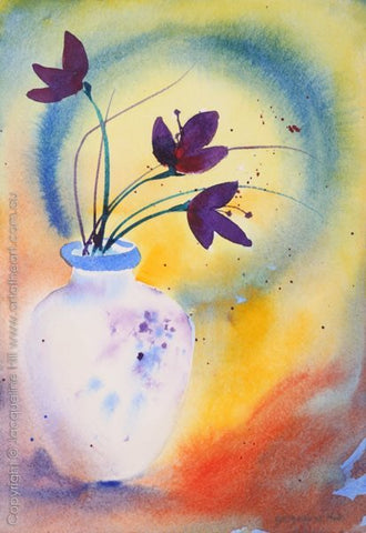 "DA-157B ""Ikebana Vase"" Original Watercolour by Jacqueline Hill [OR]"