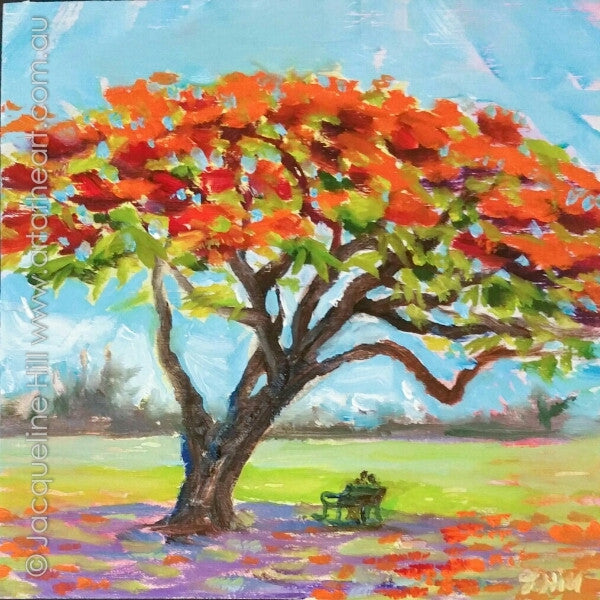 "DP345 ""Poinciana Love"" Original Oil on Panel Painting by Jacqueline Hill"