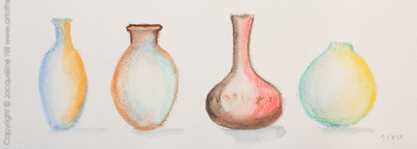 """Pots in a Row II"" Original Watercolour Painting by Jacqueline Hill [OR320]"