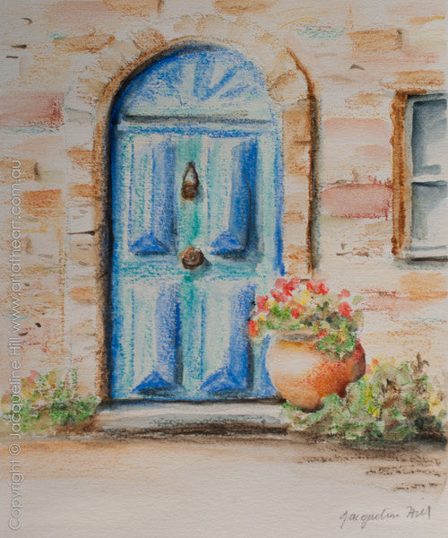"""Blue Door"" Original Watercolour Painting by Jacqueline Hill [OR314]"