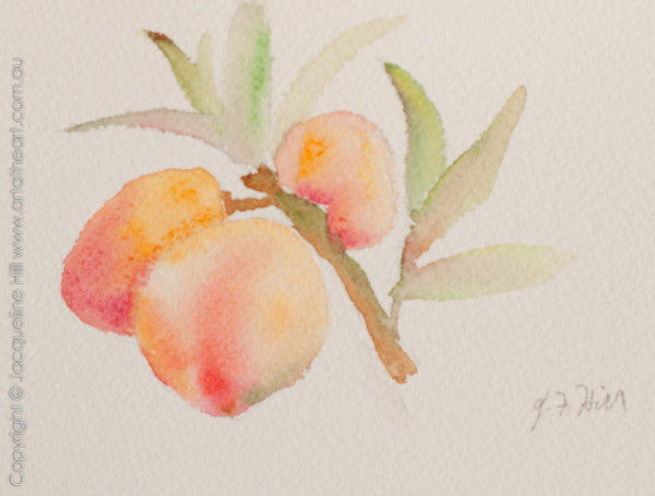"""Baby Peaches"" Original Watercolour Painting by Jacqueline Hill [OR319]"