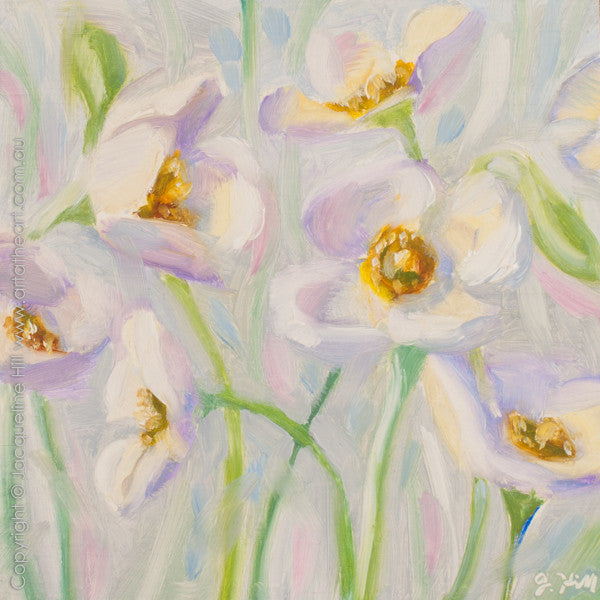 "DP251 ""Pale Poppies"" Original Oil on Panel Painting by Jacqueline Hill"