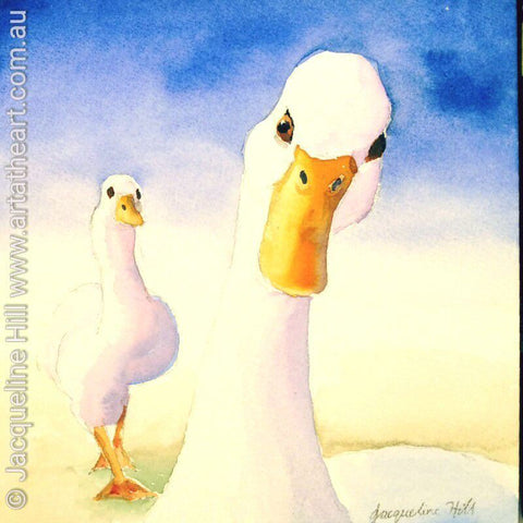 "DA074 ""You Looking At Me? (Geese)"" Original Watercolour Painting apx 6x6"" / 15cm sq by Jacqueline Hill"